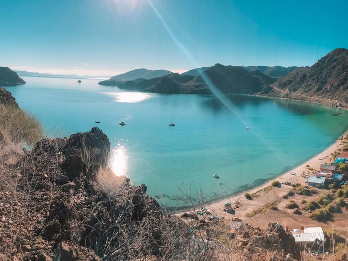 View From Above Hike Baja California Sur Baja Mexico Bay Water Sea Beach Land Beauty In Nature Sky Scenics - Nature Sunlight Nature Tranquil Scene Day Tranquility Travel Non-urban Scene Tourism Turquoise Colored Blue Idyllic