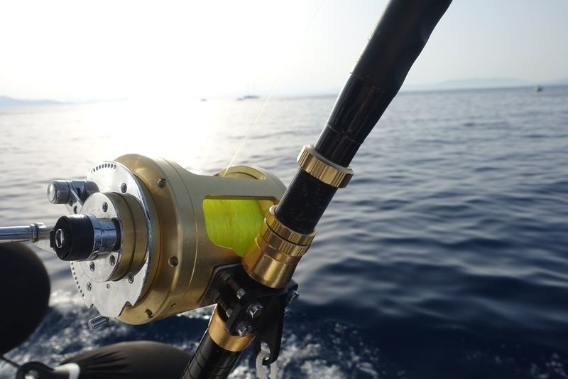 Close-up of fishing rod in sea against sky