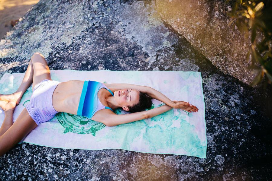 Meditating Tranquility Woman Yoga Outdoors Serene Sport