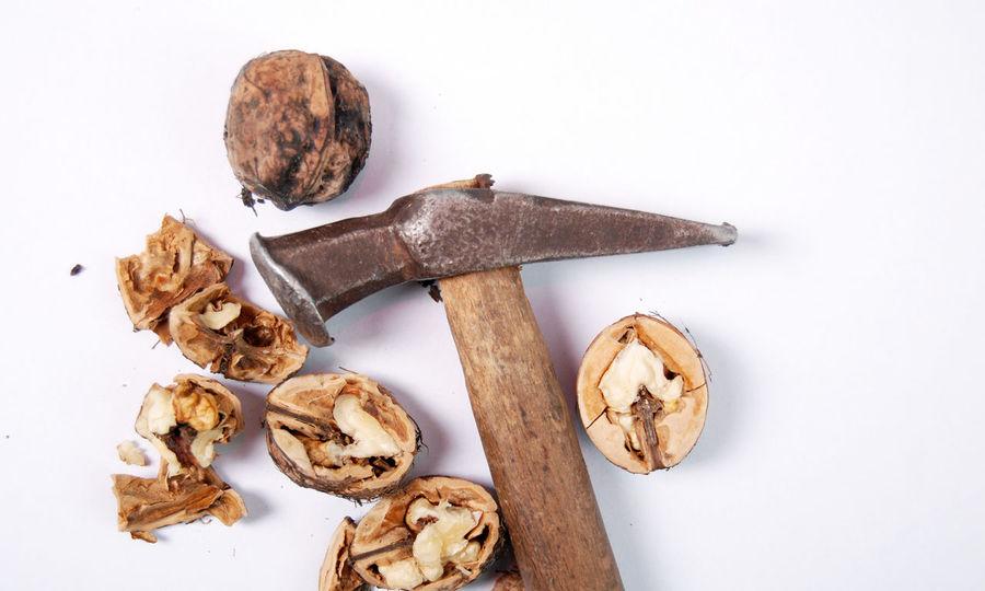 hammer and walnuts Close-up Day Food Hammer No People Nu Studio Shot Walnuit Walnut White Background