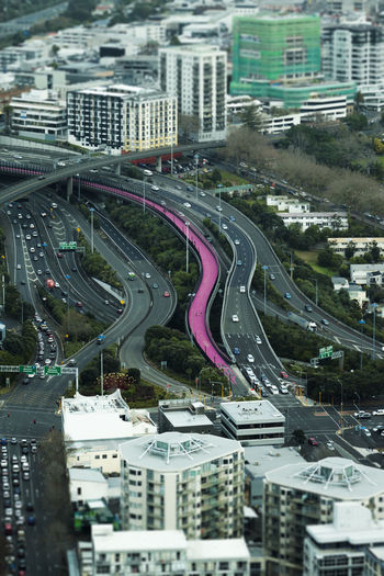 High angle view of multiple lane highway in city