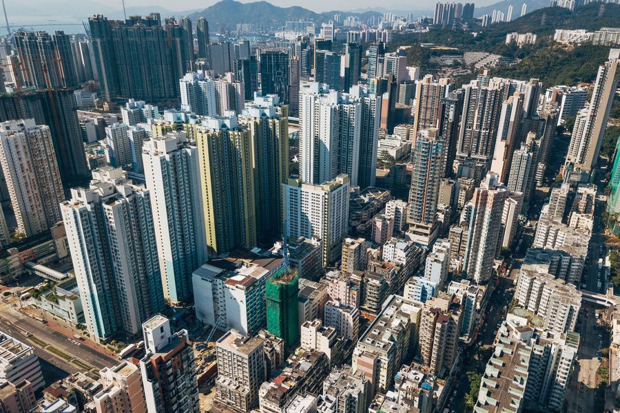 Aerial View Architecture Building Exterior City Cityscape Crowded Day Development Downtown Growth High Angle View Modern Outdoors Skyscraper Tall Tower Travel Destinations Urban Skyline