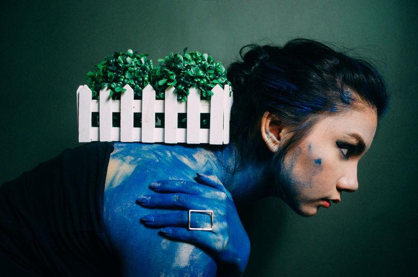 https://instagram.com/joedbarallas Blue Bodypaint Conceptual Emotions Paint Picturing Individuality Women Young Women Pastel Power