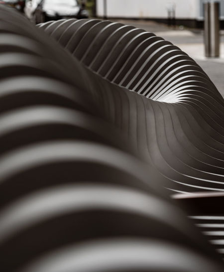 Close-up of spiral metal in factory