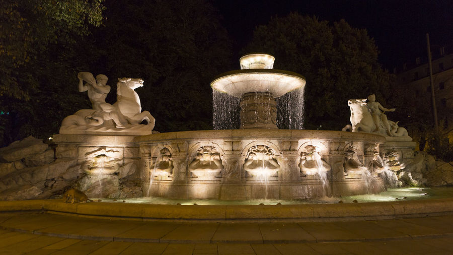 Sculpture Art And Craft Representation Statue Architecture Human Representation Creativity Male Likeness Craft No People History Built Structure The Past Night Travel Destinations Illuminated Carving - Craft Product Museum Outdoors Ancient Civilization Wittelbacher Brunnen Munich, Bavaria