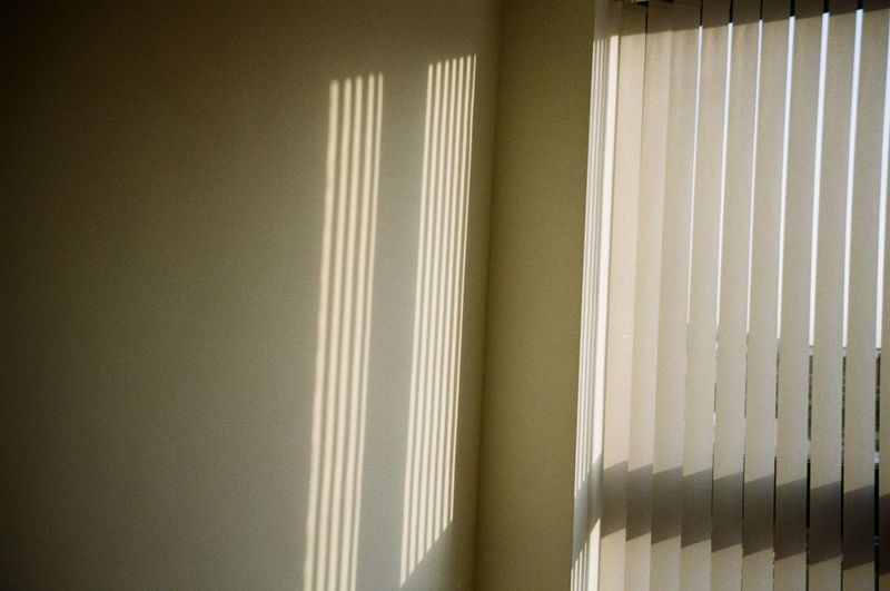 Indoors  No People Curtain Home Interior Pattern Window Blinds Close-up Day Wall - Building Feature Textile White Color Sunlight Wall Architecture Built Structure Security Domestic Room Nature