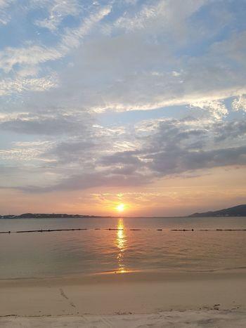 Sunset on the sea EyeEm Gallery Water Low Tide Wave Sea Sand Dune Sunset Beach Horizon Blue Sand Romantic Sky