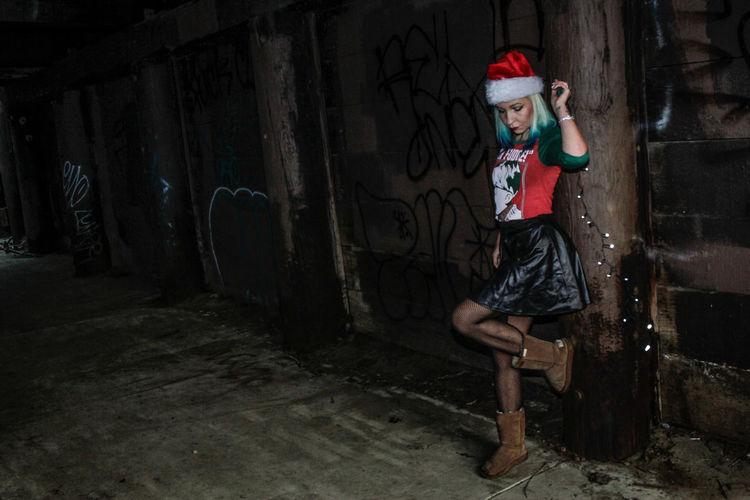 Dark Full Length One Person One Girl Only California Outdoors Tiina Kit Carson Park Female Model Escondido Xmas Christmas Beautiful Woman Escondido, Ca Uniqueness