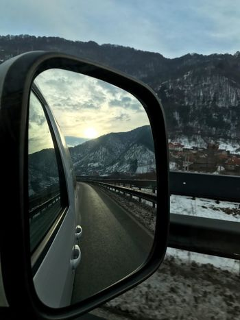 Mountain Mountain Range Transportation Side-view Mirror Car Sky Mode Of Transport Nature Day Vehicle Interior Beauty In Nature Scenics Land Vehicle Landscape No People Outdoors Mountain Road Close-up Looking Through Looking In The Mirror Looking At The Mirror Let's Go. Together. Shades Of Winter