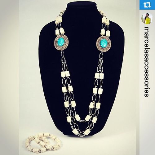 Repost from @marcelasaccessories result of today's shoot! :-)・・・Paloma necklace onsale now. 💙👌Marcelasaccessories Fashion Stones White Jewellery Byginalopez Foto Accessories Style Instacollage Fashionista Chic