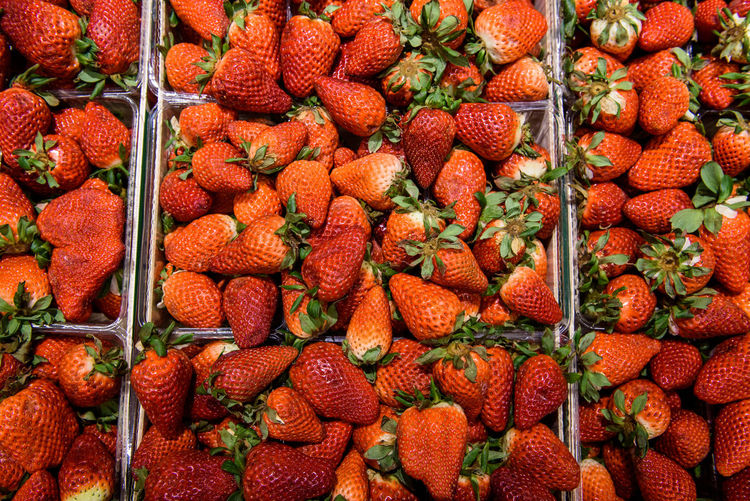 Full frame shot of strawberries in market