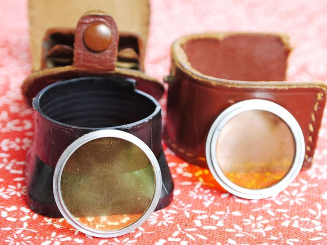Camera Equipment Camera Lenses Close-up Colored Lenses Day Indoors  Kodak Camera Leather Pocket No People Old Fashioned Table Vintage