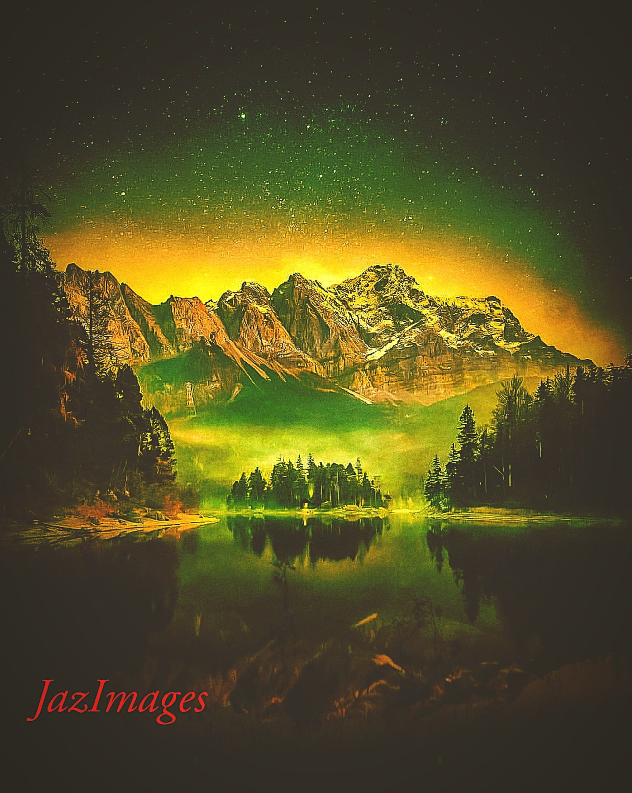 scenics - nature, mountain, beauty in nature, tranquil scene, sky, tranquility, mountain range, idyllic, environment, landscape, no people, nature, night, non-urban scene, majestic, green color, cold temperature, star - space, snow, outdoors, snowcapped mountain