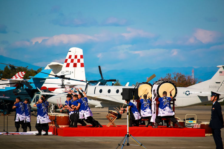 Airplane At An Exhibition Aviation Blue Clear Sky Cultures Enjoyment Exhibition Fantastic Exhibition Fun Iruma Air Base Japanese Drum Military Outdoors Sky The Photojournalist - 2016 EyeEm Awards