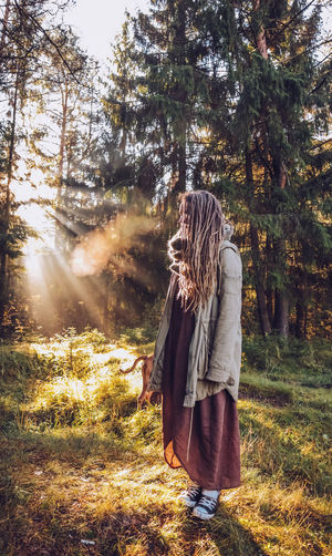 Young woman with dreadlocks in autumn fall forest in the morning sunshine Fall Fall Forest Autumn colors Autumn Collection Dreadslocks Dreadhead Outdoors Nature Forest Tree Boho Happiness Boho Style Capture Tomorrow