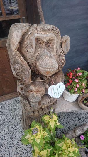 Monkey :) EyeEm Selects Monkeys Flower Wooden Wooden Sculpture Cute Looking