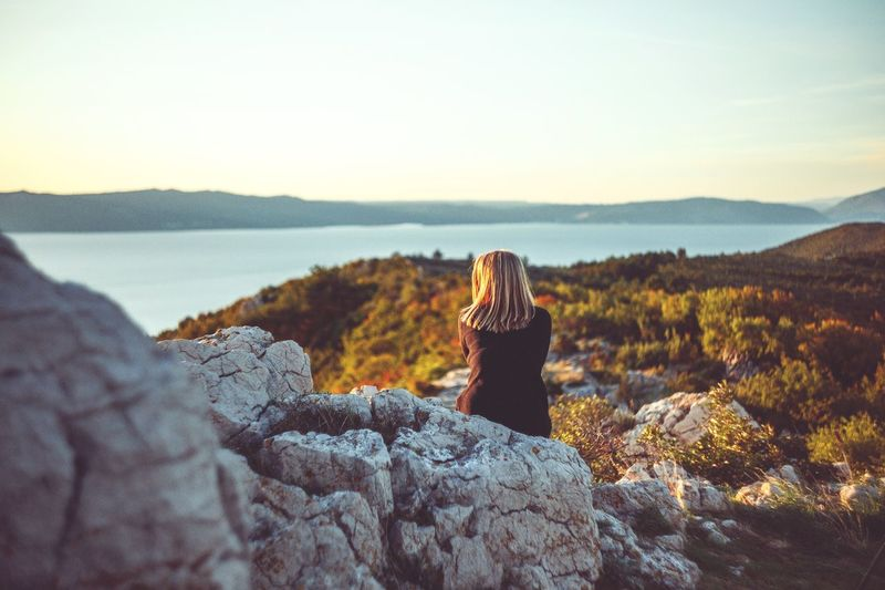 My girl in Croatia Nature Landscape Sunset Tranquility Outdoors Beauty In Nature Sky Scenics Horizon Illuminated Nature Mature Adult People Cloud - Sky Real People EyeEmNewHere Cres  Croatia Girl Girlfriend Couple Summer Kodachrome