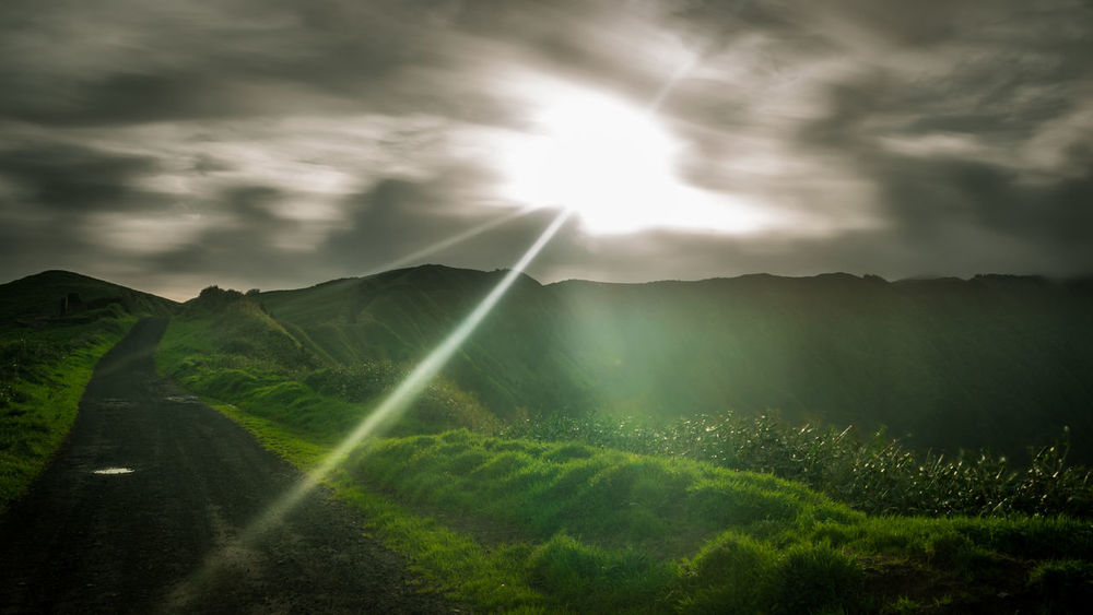 Morning Portugal Agriculture Beauty In Nature Cloud - Sky Clouds And Sky Day Field Green Color Growth Landscape Mountain Mountain Range Nature No People Outdoors Rural Scene Saomiguel Scenics Sky Sun Tranquil Scene Tranquility