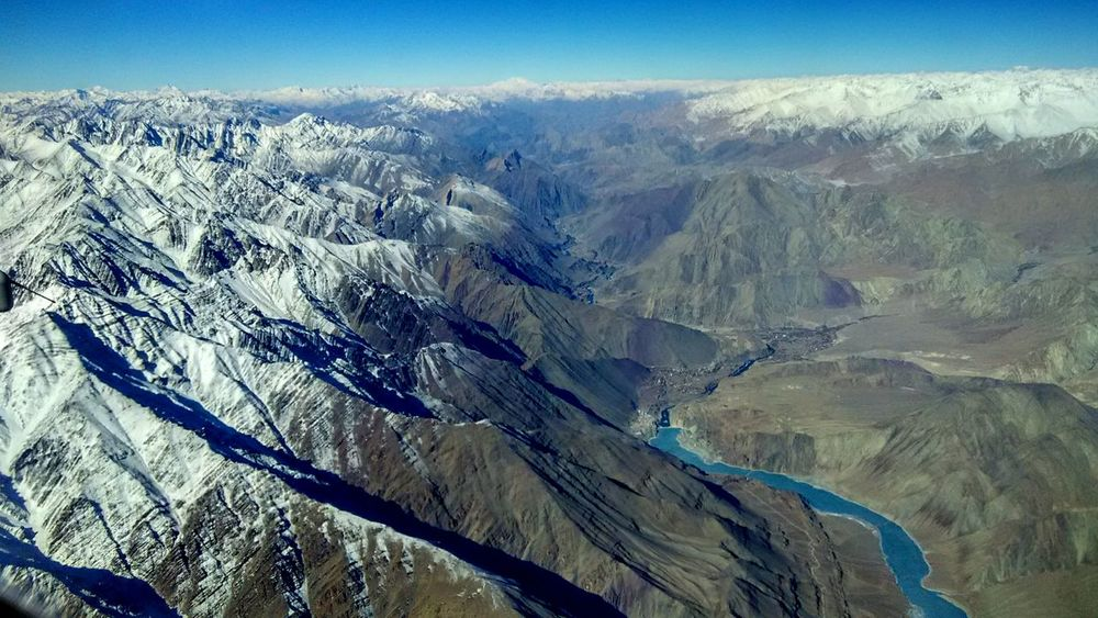 Aerial View Aerial Photography Aerial Shot Shot From Plane Mountains Snow Outdoors Leh Ladakh.. Redmi1s Nature Sky Mountain Peak Exploring New Ground Indus River Saspol. Dam Alchi Blue Water Lost In The Landscape Perspectives On Nature