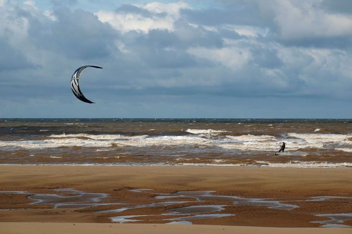 Formby Beach Formby Beach Sea Water Wave Shore Surf Kite Flying Surfing Sand Watersports Sky And Clouds Thrillseeker Seaside Coast