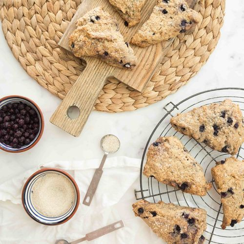 High angle view of cookies in basket on table