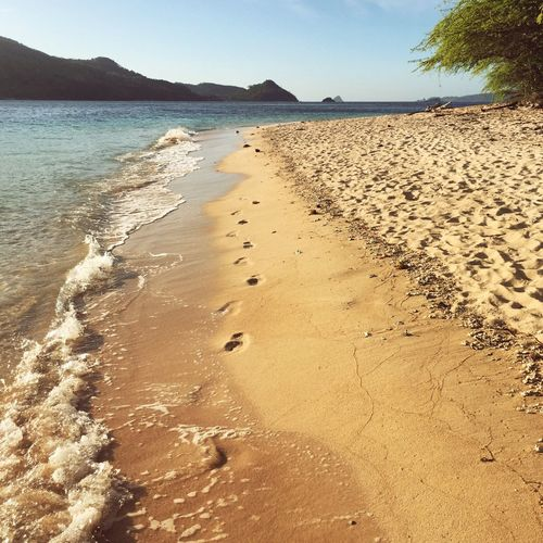 Footprints in the sand Relaxing Travel Beach Sand Sea Palawan Philippines Linapacan Footprints