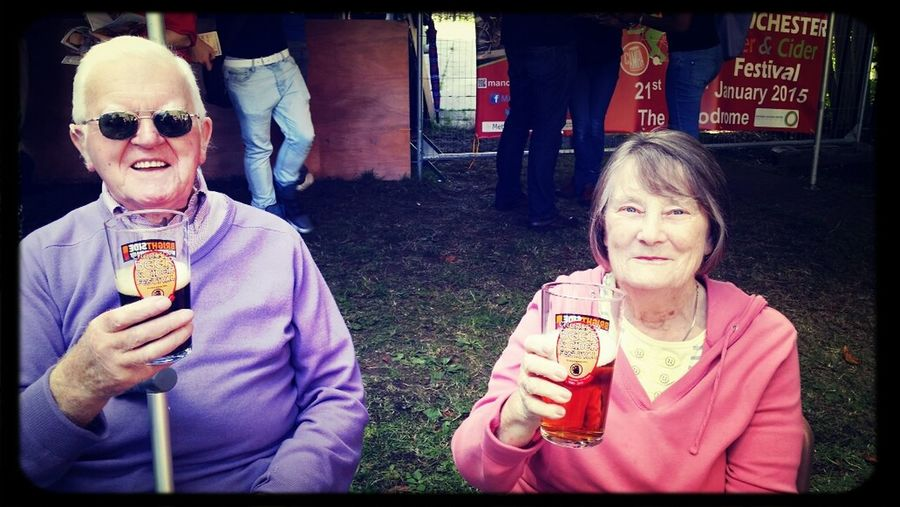 Mum and dad drinking beer :)