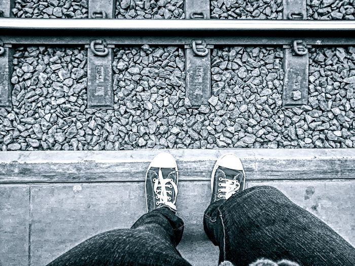My Feet My Unique Style Me, Myself And I Feet From My Point Of View Train Tracks Train Station Blackandwhite Black And White Traintracks Feet On The Ground Surfaces And Textures Walking On Sunshine Walking Around