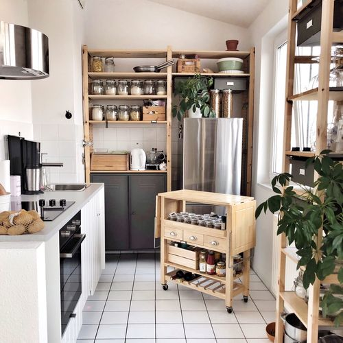 Kitchen Open Shelf Kitchen Cosy Living Kitchens Of Berlin Kitchen With Plants Indoors  No People Furniture Technology Shelf Appliance Day Household Equipment