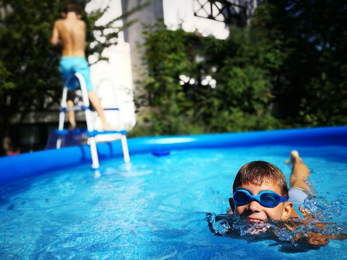 Swimming Pool Water People Shirtless Real People Athlete Summer Outdoors Day Be Careful Summer Time  UnderSea Nature Refraction Blue Swimming Goggles Fun Diving The Week On EyeEm Done That.