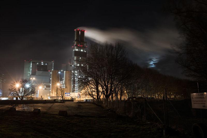Bare Tree Fog Illuminated Industial World Industrial Industrie Moorburg Night No People Outdoors Park - Man Made Space Sky Smog Tree