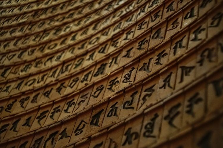Antique Architecture Backgrounds Belief Calligraphy Close-up Communication Craft Full Frame Handwriting  In A Row Indoors  No People Non-western Script Religion Script Selective Focus Text Wood - Material