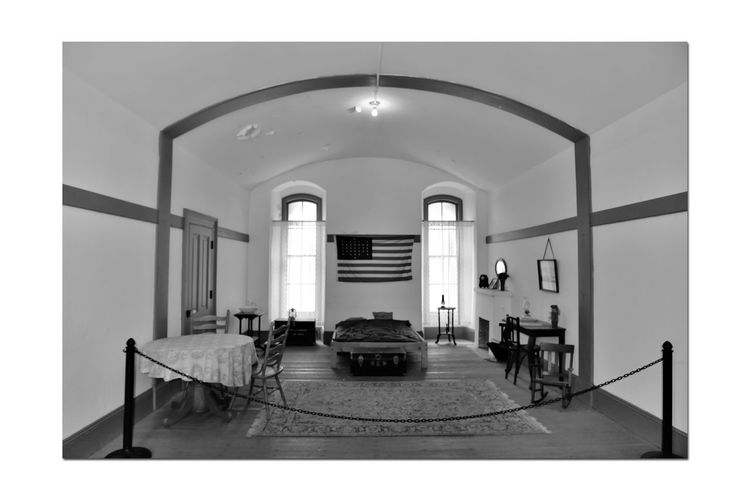 Rooms Inside Fort Point 3 San Francisco CA🇺🇸 Fort Point Military Base Built 1861 Military History Officer's Living Quarters Antique Furnishings Architecture Interior Architectural Feature Rectangular Arched Windows Arched Ceiling American Flag Hardwood Floors Monochrome_Photography Monochrome Black & White Black & White Photography Black And White Black And White Collection  Chain Barrier Indoors  Built Structure Day