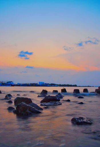 Sunset port Water Sea Sunset UnderSea Beach Blue Swimming Rock - Object Sky Horizon Over Water Seascape Low Tide