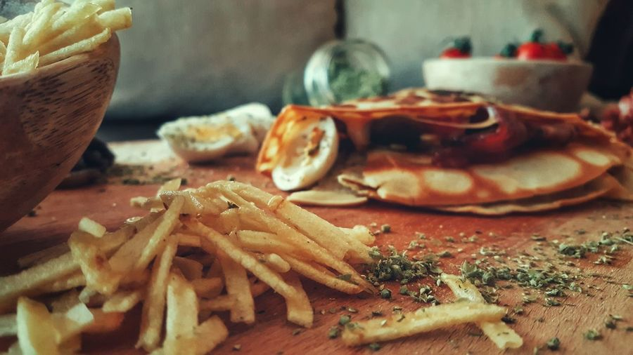 Close-up of food on cutting board over table