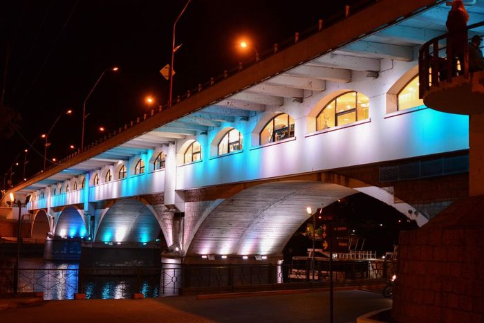 Bridge of lights Large River Perspective Colourful Lights Illuminated Night Architecture Built Structure Bridge HUAWEI Photo Award: After Dark