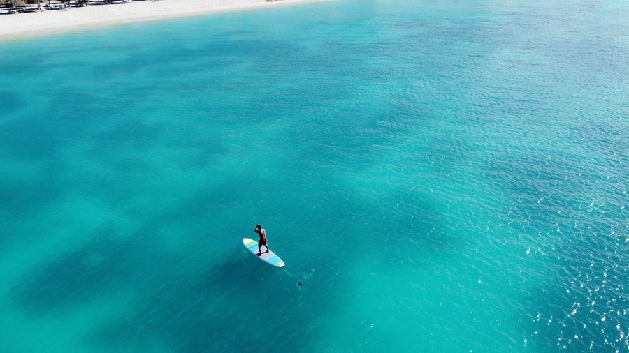 Aerial view of person paddleboarding in sea