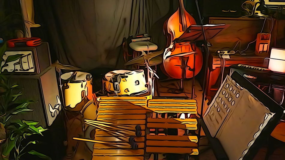 Jazz Music Double Bass Filtered Illuminated Indoors  Night No People Vibraphone