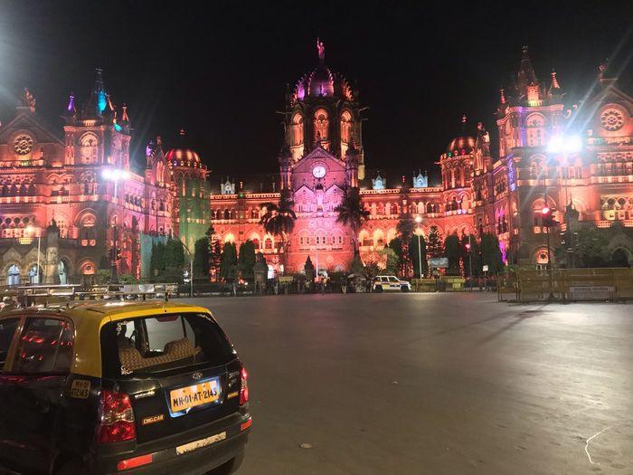Chhatrapati Shivaji Maharaj Terminus (formerly known as Victoria Terminus) all light up! Noedit Nofilter Shotoniphone7 ShotOnIphone Architecturelovers History MumbaiDiaries Mumbai Built Structure Building Exterior Building Street