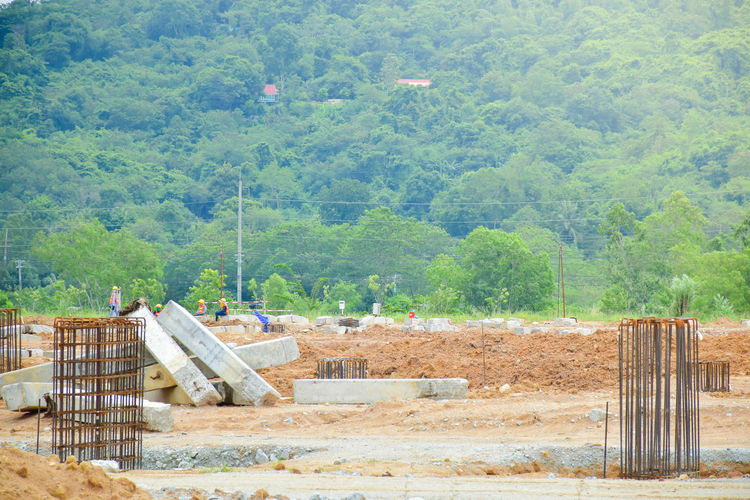 View of construction site in forest