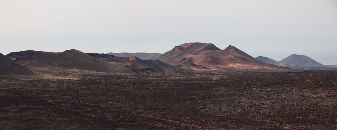 Canary Islands Lanzarote Panorama SPAIN Travel Volcanoes Day Geological Formation Island Landscape Mountain Range Volcanic  Volcano