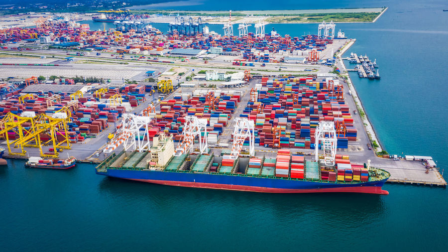 High angle view of ship containers and commercial dock industry