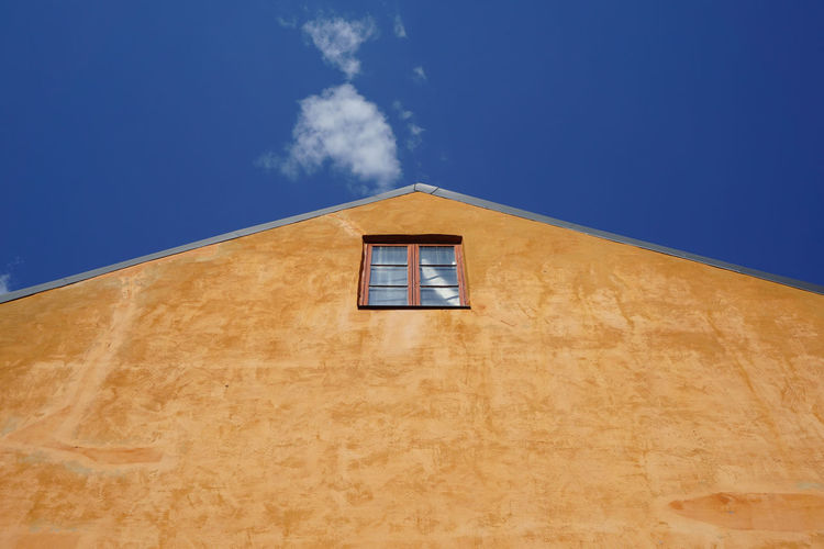 EyeEmNewHere Ochre Architecture Blue Building Building Exterior Built Structure Cloud - Sky Day Eye4photography  House Low Angle View Minimalism No People Ocher Color Old One Orange Color Outdoors Sky Wall - Building Feature Window