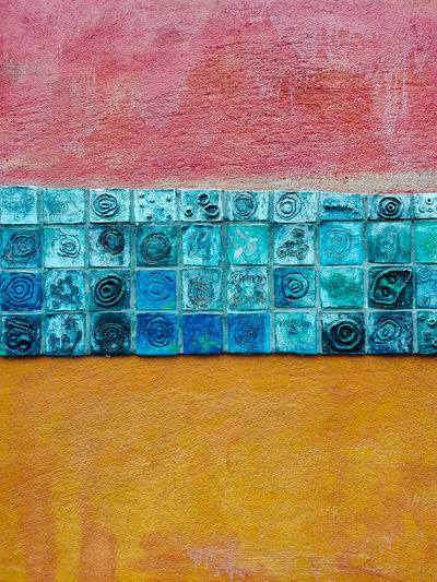 Abstract Blue Ceramic Art Ceramic Tiles Ceramics Close-up No People Outdoors Pattern Powder Paint Red Blue Yellow