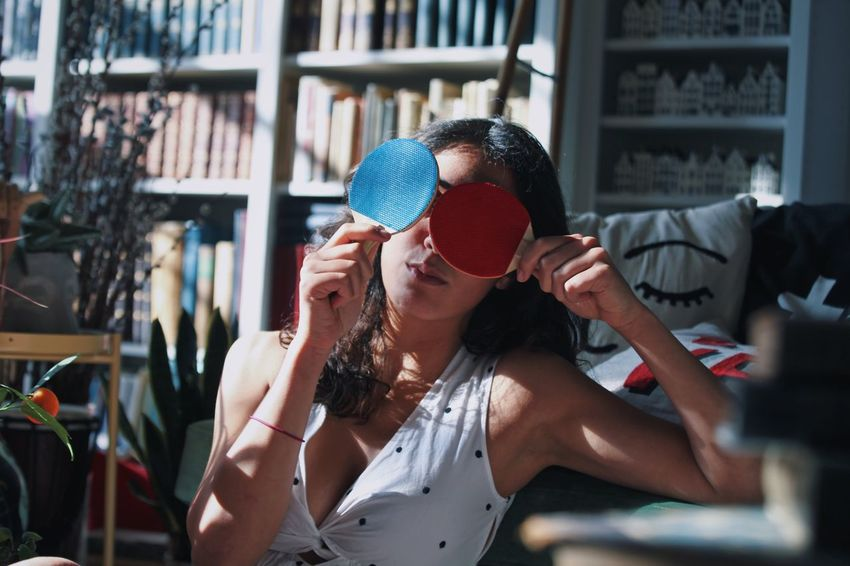 EyeEm Selects Indoors  One Woman Only Day Young Adult Bookshelf Adult Adults Only Open Edit Woman Portrait Portrait Of A Woman Portraits Portrait Ping Pong Racket Red And Blue Girl Beauty Young Women Indoors  Library Loft Playing Tehran, Iran Fashion Stories Fashion Stories