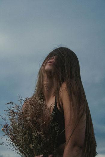 Head Unsteady. Women Long Hair Portrait Only Women
