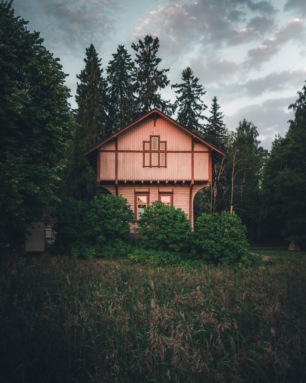 HOUSE ON FIELD AGAINST TREES IN FOREST