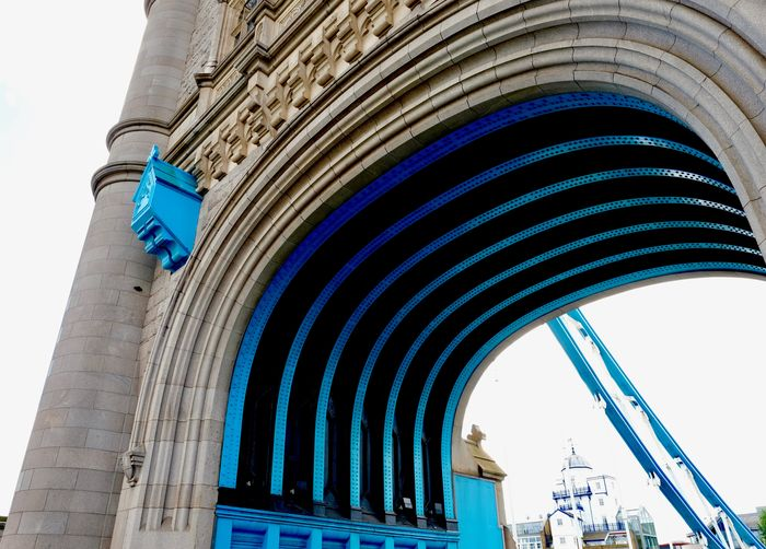 blue arches Blue Pushed Peace Of Mind Arch Architecture Beefed-up Hue Building Exterior City Low Angle View Tower Bridge London EyeEm In London