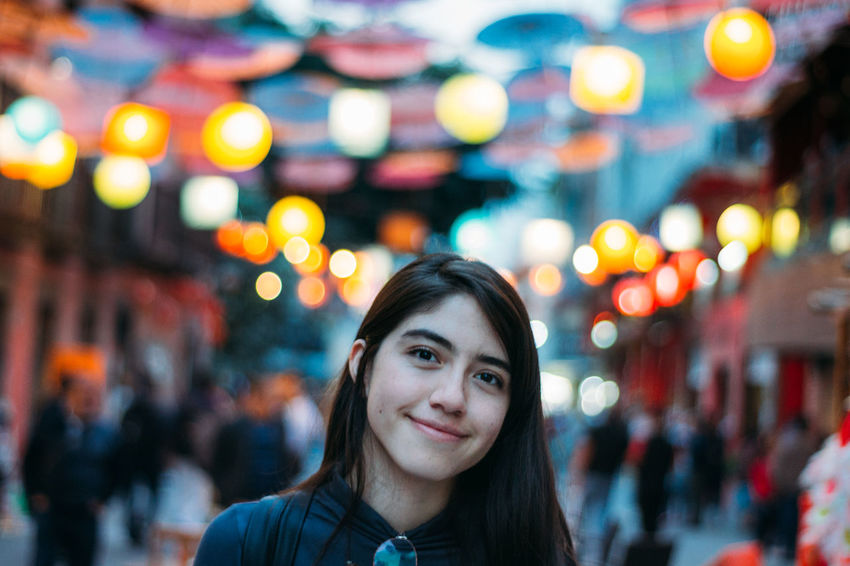 Helúe at Chinatown. Adult Adults Only Beautiful Woman Bokeh City Close-up Focus On Foreground Front View Happiness Headshot Illuminated Incidental People Looking At Camera Night One Person Outdoors People Portrait Real People Smiling Women Young Adult Young Women