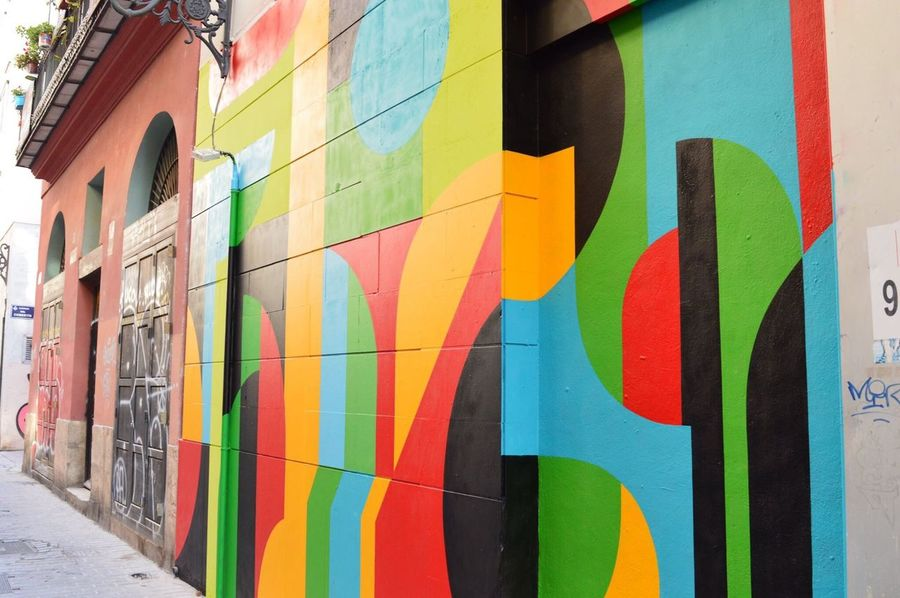Multi Colored Graffiti Architecture Building Exterior Built Structure Art And Craft Street Art Outdoors Day No People Close-up Valencia, Spain